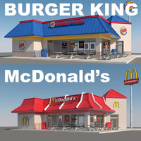 3d fast food restaurants model