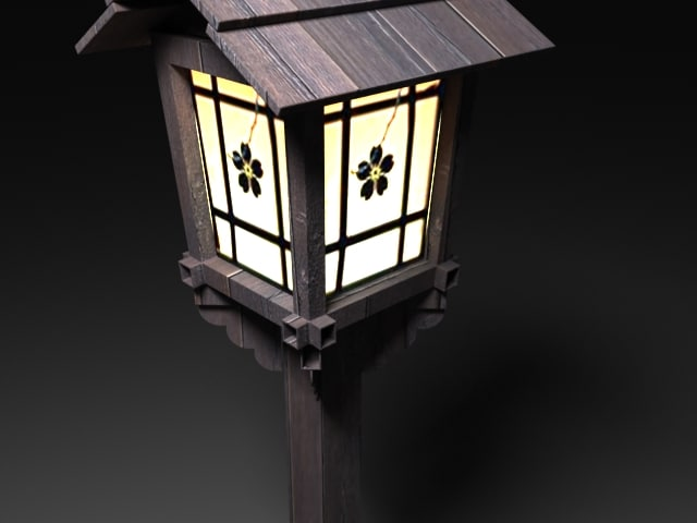 old japanese lamp 3d model