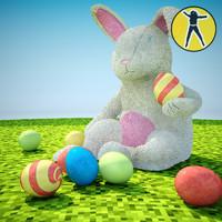 3d model of plush easter rabbit