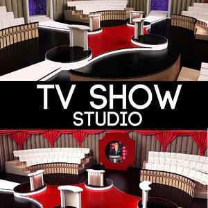 tv studio decor 3d model