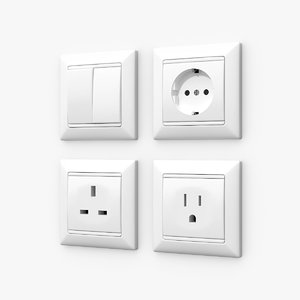 wall switches sockets 3d model