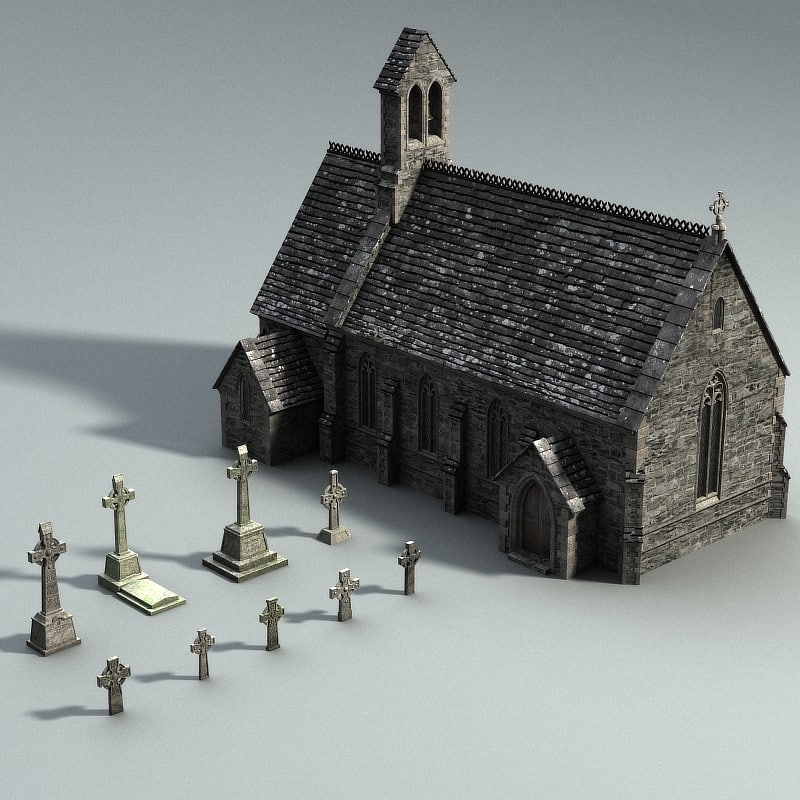 3d model of medieval gravejard set