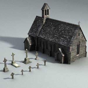 3d model of medieval gravejard set
