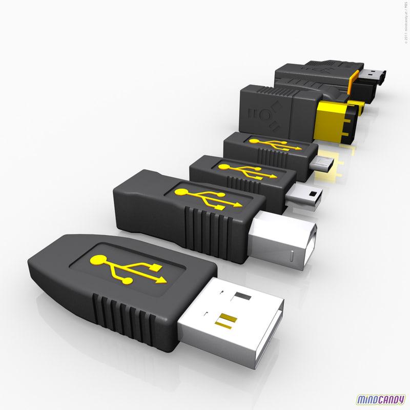 plugs usb firewire 3d model