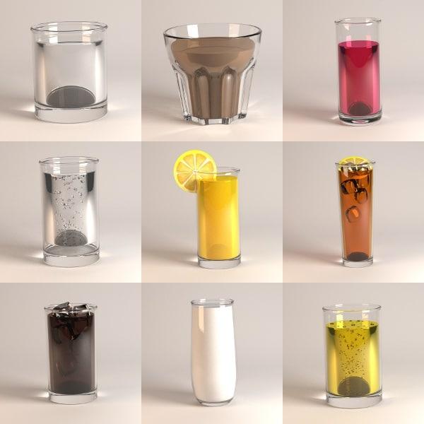 3d model glass orange ice