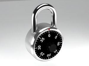combination padlock 3d model