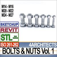 3ds bolts nuts iso stl