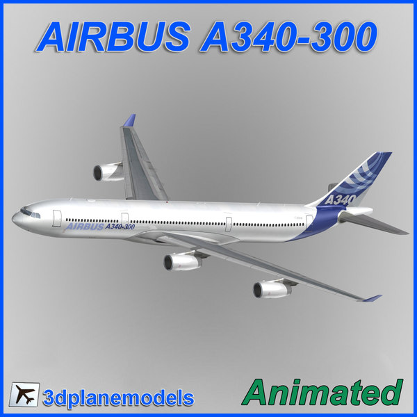 airbus a340-300 aircraft landing 3d max