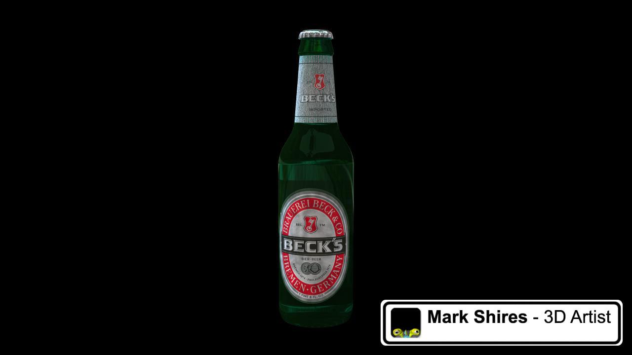 3dsmax green beer bottle becks