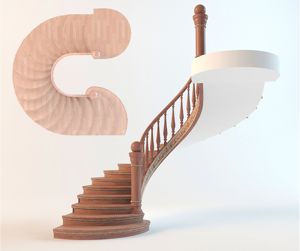 3ds max classic spiral interior staircase