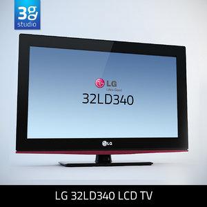 3d model of lg 32ld340 lcd tv