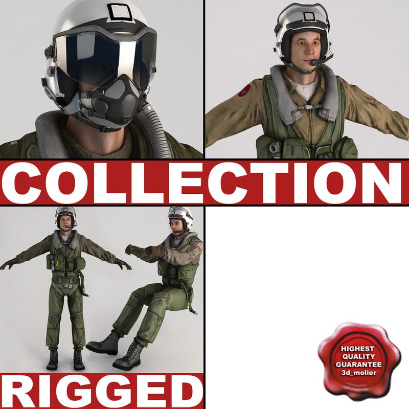 military pilots rigged 3d max