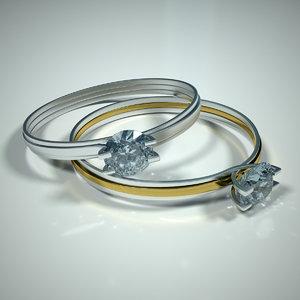 3d cut diamond ring model