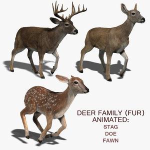 deer family fur 3d ma