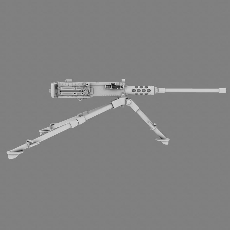 caliber m2 browning machine gun 3d model