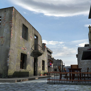 historical buildings bar ruined 3d model