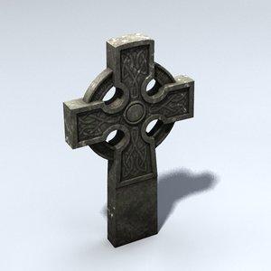 3d celtic gravestone model