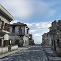 3d obj historical house ruined