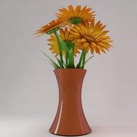 gerbera flowers bouquet vase 3d max