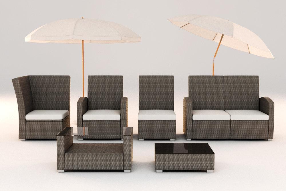 Rattan Furniture Garden Set 3d Model