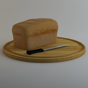 loaf bread chopping board 3d model