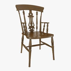 oak fiddle chair obj