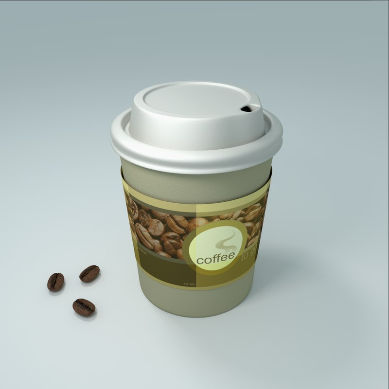 3d paper cup coffee beans model