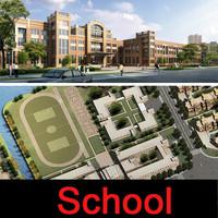 3d university building exterior model