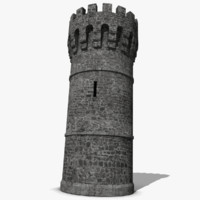 Medieval Castle Tower Gray