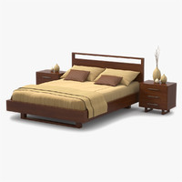 3d model bed cherry wood