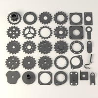 industrial wheels+parts c4d