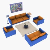 3d sofa tables lamp vase model