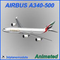 3d airbus a340-500 model
