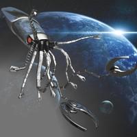 3d model of robot squid spacecraft rigged
