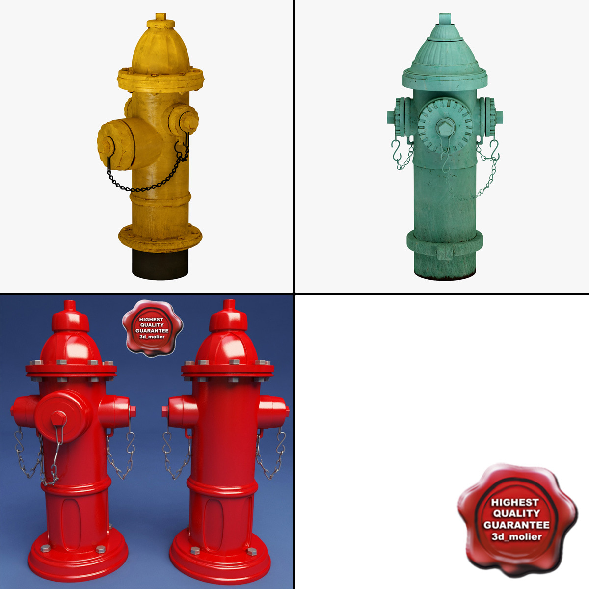 3d 3ds hydrants modelled