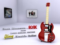 3d model electric gibson guitar
