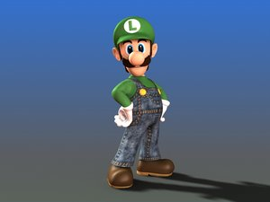 nintendo video character luigi 3d model