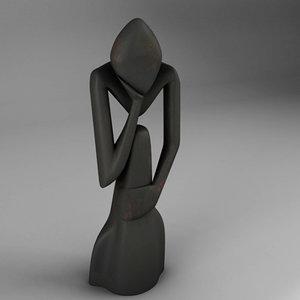 3d figure pensador model