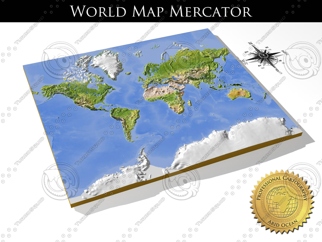 Map Of The World 3d.Relief World Mercator Obj