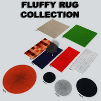 3d model fluffy rugs fur hair