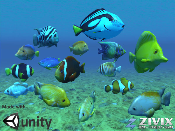 free tropical fish pack 3d model