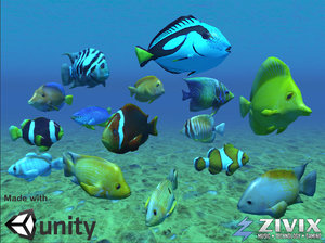 free tropical fish pack 3d model