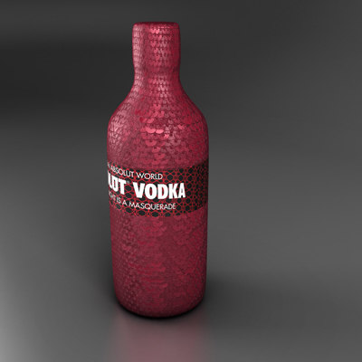 alcohol bottle vodka obj