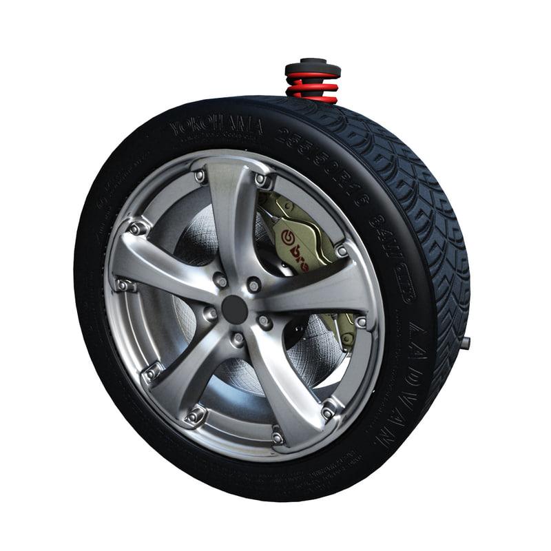 3d riging suspension animation wheel