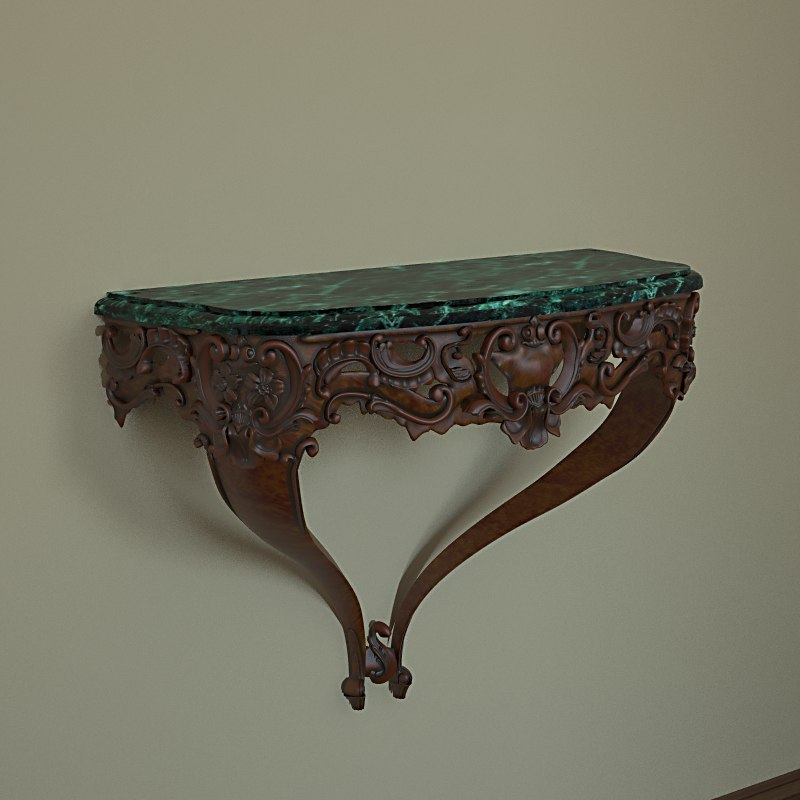 3d realistic baroque console louis model