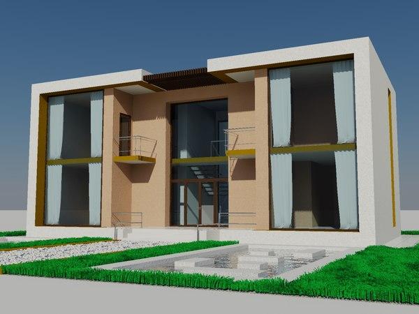 style cubism house 3d model