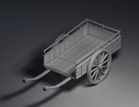 wood cart 3d max