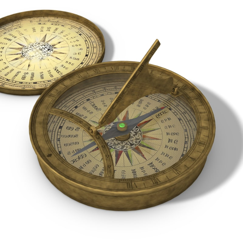 3d model old magnetic compass sunclock
