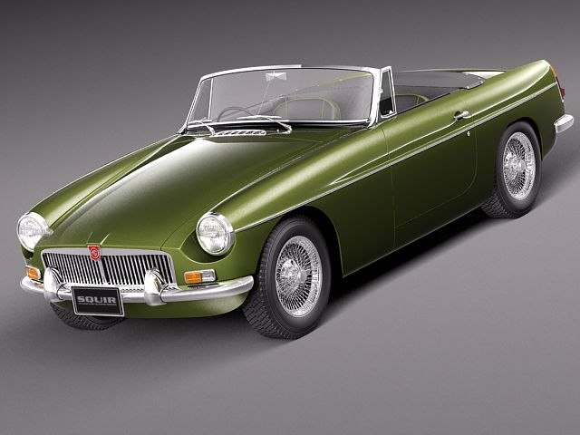 3d mg mgb b sport car