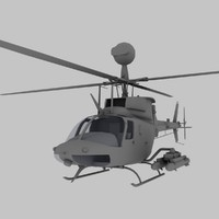 OH-58D Kiowa Warrior US Army Scout Helicopter Game Model
